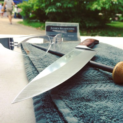 Knife, ceramic rod and safety glasses for sharpening