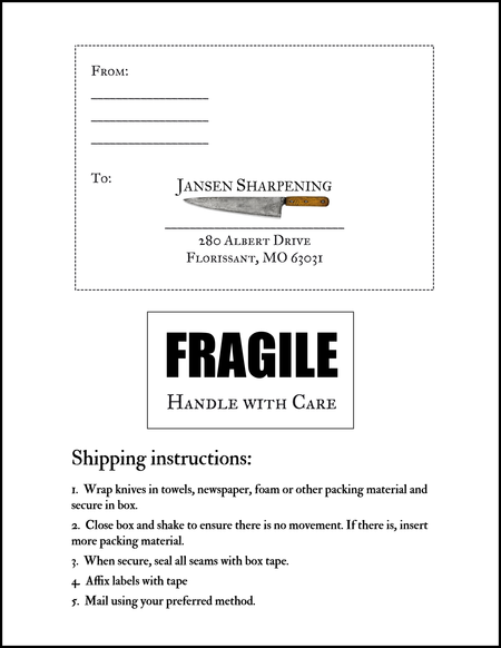 Jansen Sharpening Mailing Label