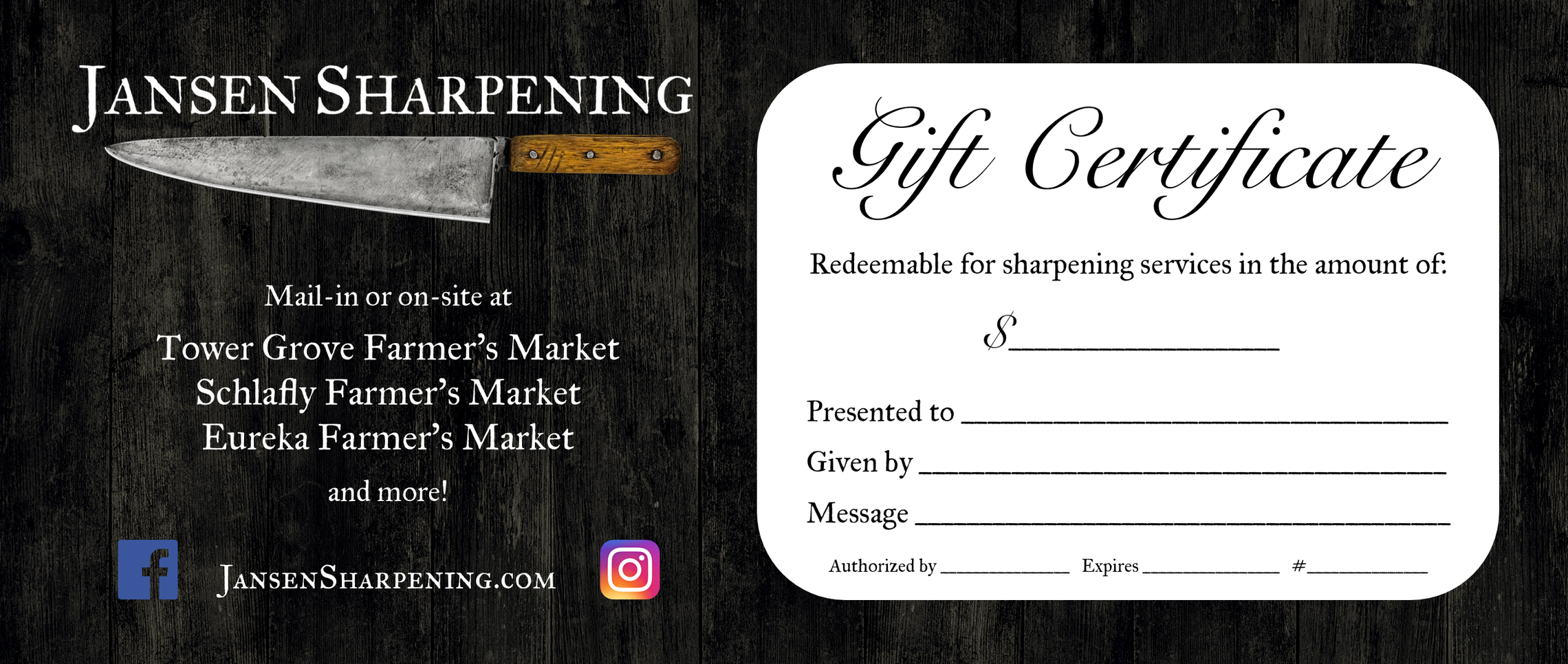 Jansen Sharpening Gift Certificate Sample